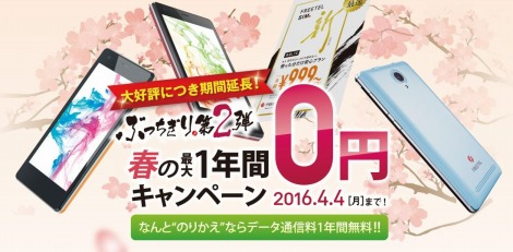 FREETEL春の毎月1GB無料キャンペーン